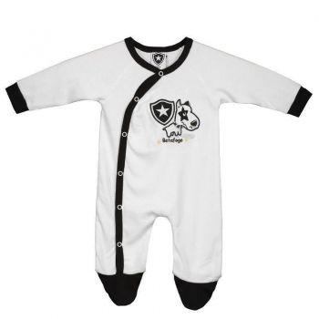 Macacão Botafogo Mascote Manga Longa Branco