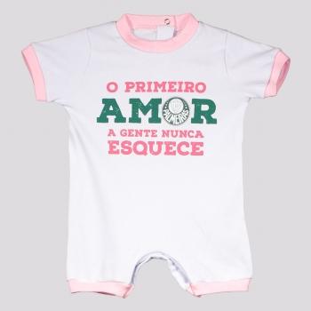 Macacão Palmeiras Primeiro Amor Infantil Branco e Rosa