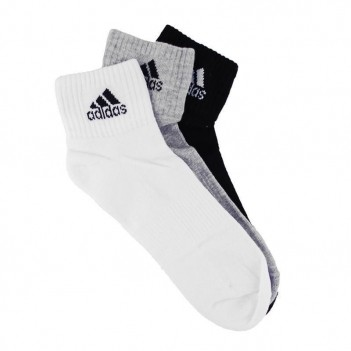 Meia Adidas Ankle Mid Cushion 3 Pares Branca e Preta