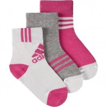 Meia Adidas Fun 3 Pares Infantil Rosa e Cinza