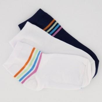 Kit Meia Lupo Socks Cano Curto 3 Pares Feminina Branca e Marinho