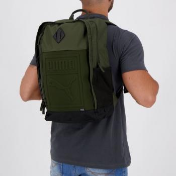 Mochila Puma S Backpack Verde e Preta