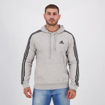 Moletom Adidas Essentials 3 Stripes Cinza Mescla