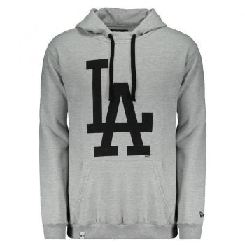 Moletom New Era MLB Los Angeles Dodgers Cinza e Preto