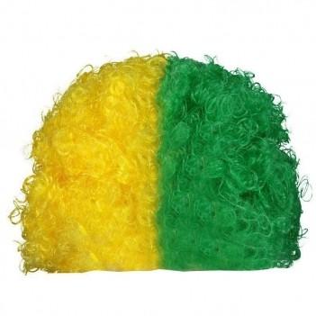 Peruca Brasil Verde e Amarela