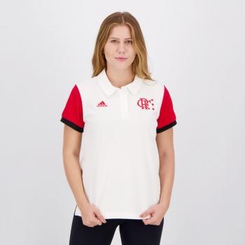 Polo Adidas Flamengo Feminina Branca