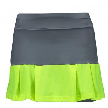 Short Saia Com Barra Aplicada Cinza e Verde