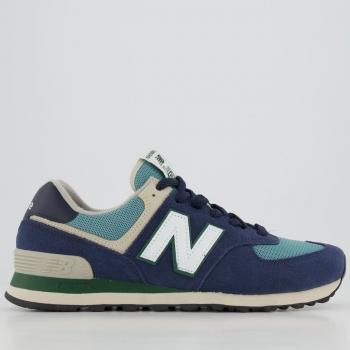 Tênis New Balance 574 Azul Marinho e Verde - FutFanatics
