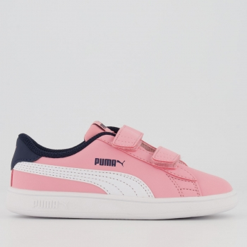 Tênis Puma Smash V2 Buck V Infantil Feminino Rosa
