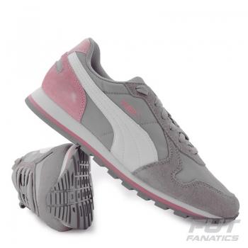 Tênis Puma ST Runner Nylon Cinza e Rosa