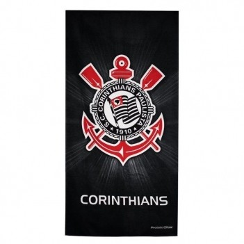 Toalha de Banho Bouton Corinthians Veludo Escudo