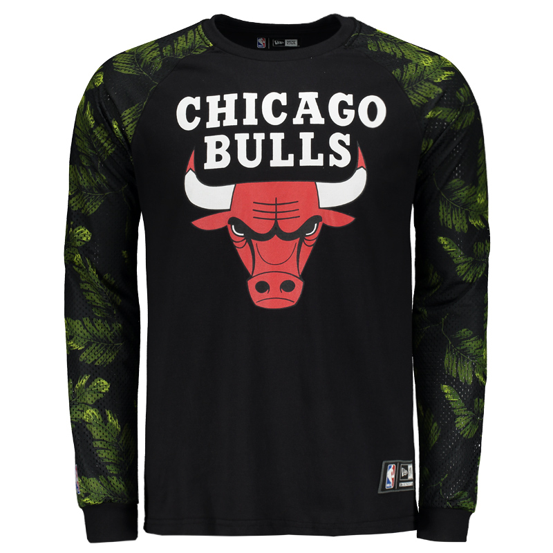 Camiseta New Era NBA Chicago Bulls Manga Longa - FutFanatics 0cea077b46179