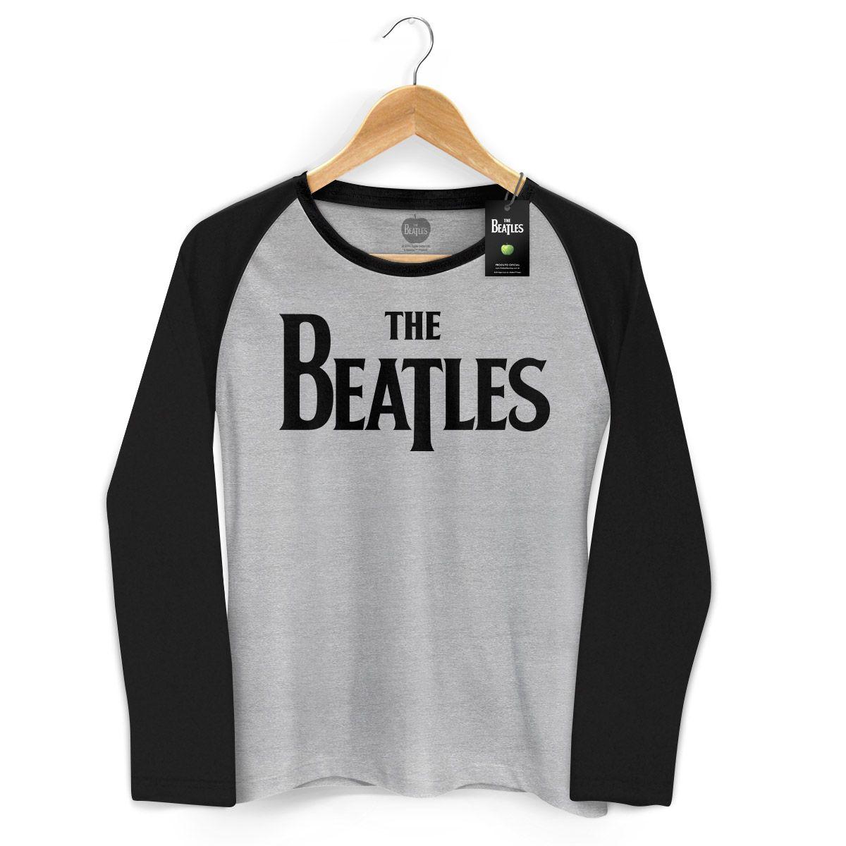 Camiseta Manga Longa Raglan Feminina The Beatles Classic Logo