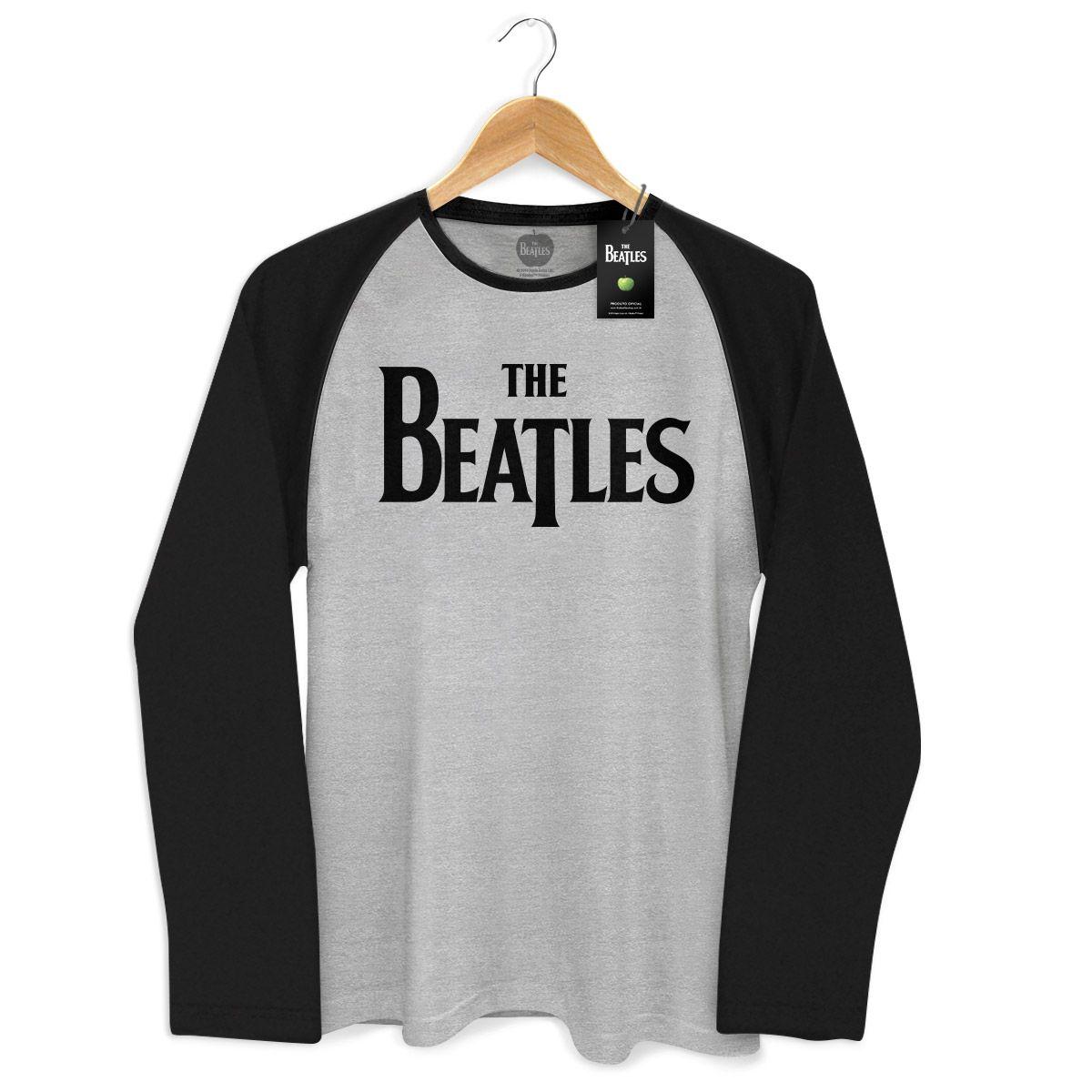 Camiseta Manga Longa Raglan Masculina The Beatles Classic Logo