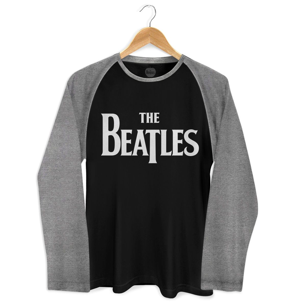 Camiseta Manga Longa Raglan Masculina The Beatles Classic Logo Negative