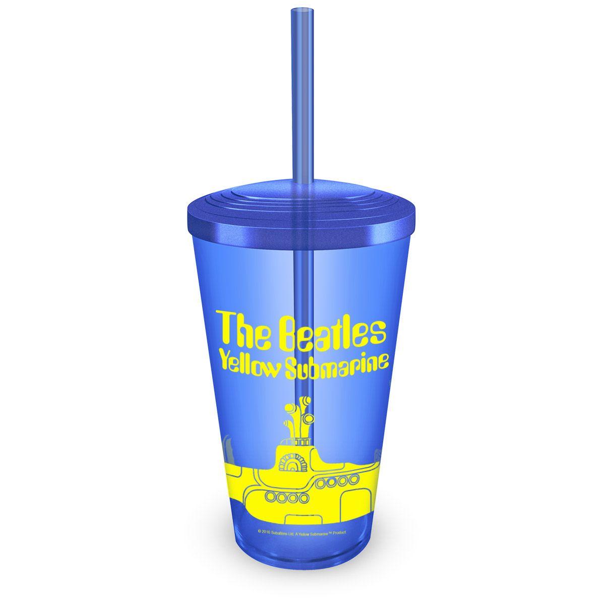Copo Acrílico Azul The Beatles Yellow Submarine