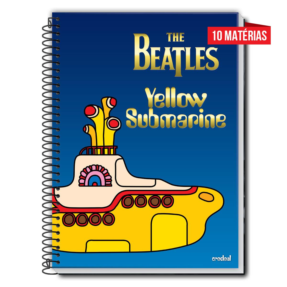 Caderno The Beatles Yellow Submarine 10 Matérias