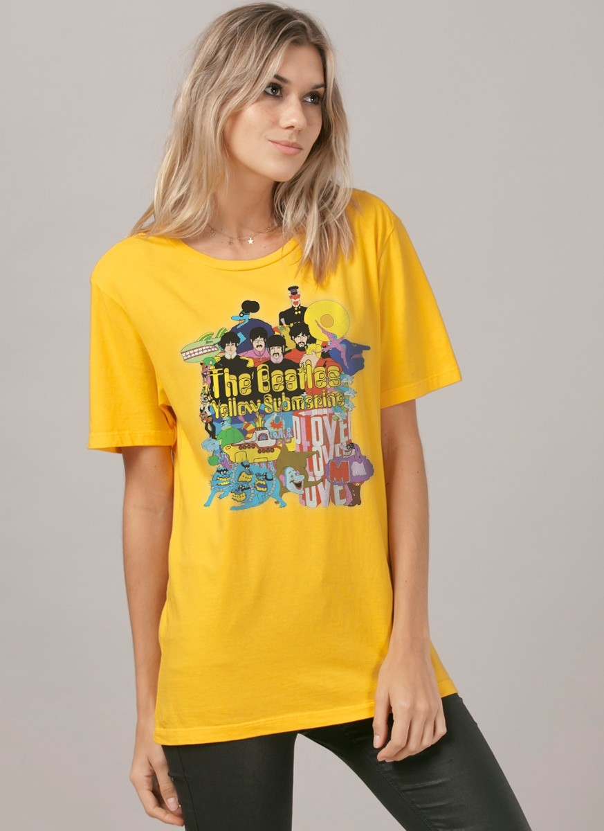 T-Shirt Feminina The Beatles Yellow Submarine