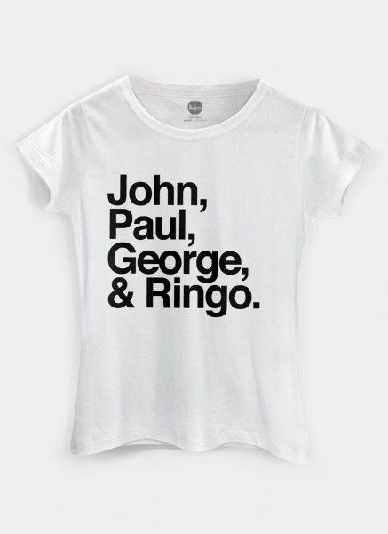 Camiseta Feminina The Beatles Names