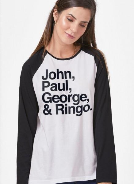 Camiseta Manga Longa Feminina The Beatles Names