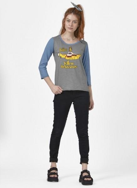 Camiseta Manga Longa Feminina The Beatles Yellow Submarine