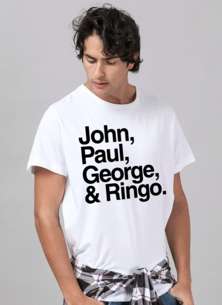 Camiseta Masculina The Beatles Nomes