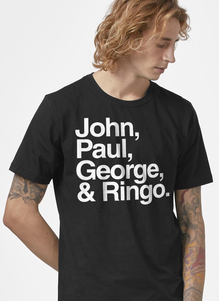 Camiseta Masculina The Beatles Nomes