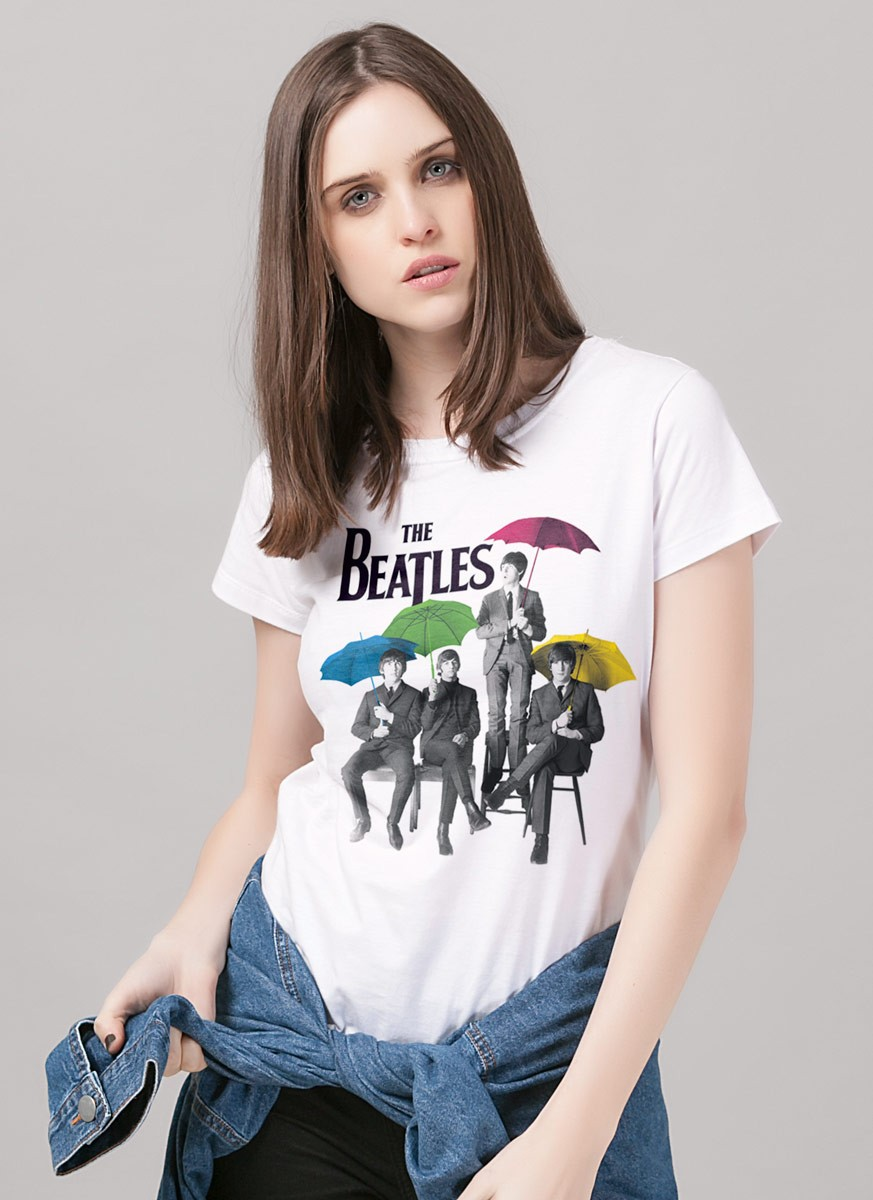 Camiseta Feminina The Beatles Umbrella Colors