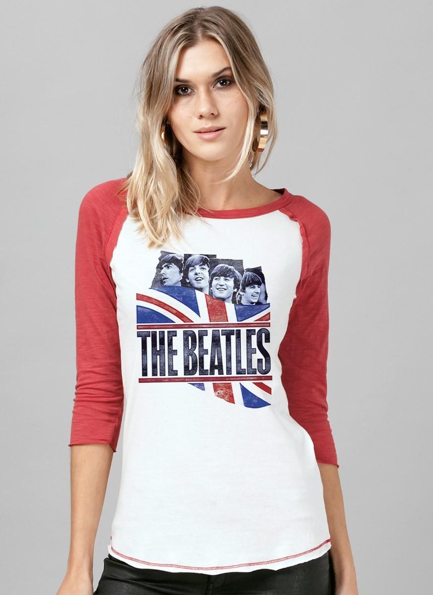 Camiseta Raglan Feminina The Beatles England Flag
