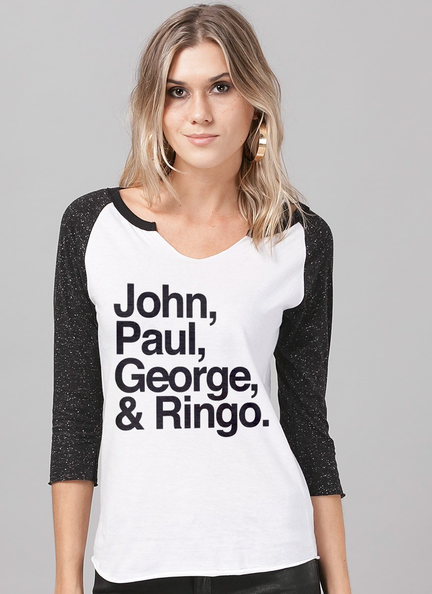 fbe0ddfa5f Camiseta Manga Longa Feminina The Beatles Names - The Beatles Shop ...