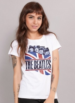 Camiseta Feminina The Beatles England Flag