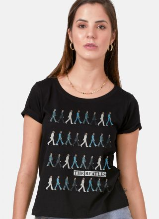 Camiseta Feminina The Beatles Running Down Abbey Road