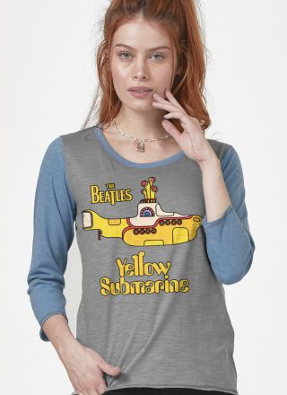 Camiseta Manga Longa Feminina The Beatles Yellow Submarine