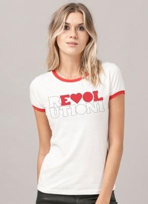 Camiseta Ringer Feminina The Beatles Revolution 1