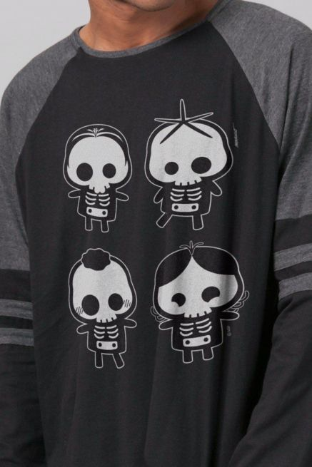 Blusa Manga Longa Masculina Turma da Mônica Esqueletos