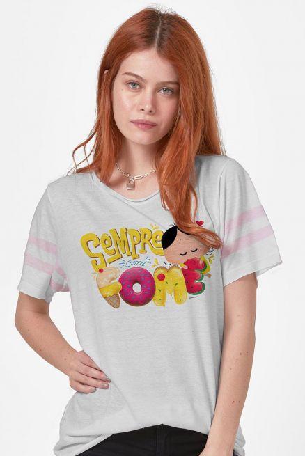 Camiseta Athletic Feminina Turma da Mônica Magali Sempre com Fome