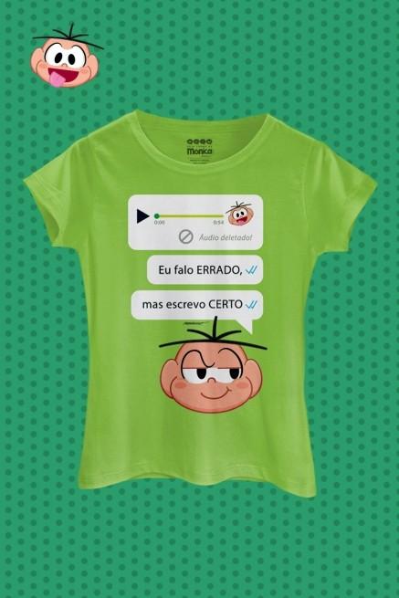 Camiseta Feminina Turma da Mônica Cebolinha Escrevo Certo