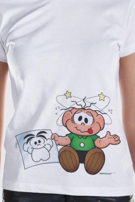 Camiseta Feminina Turma Da Mônica O Cebolinha Apanhou!