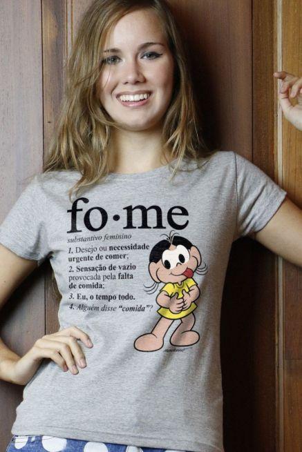 Camiseta Feminina Turma da Mônica Magali Fome