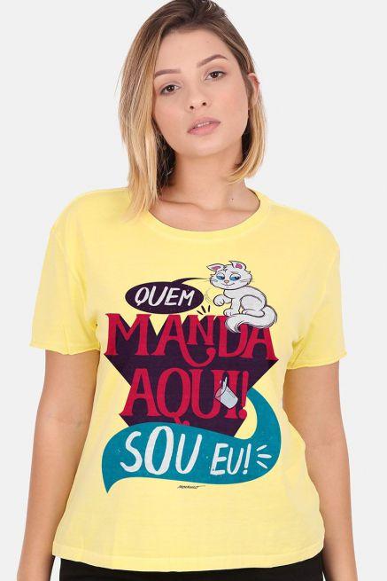 Camiseta Feminina Turma da Mônica Mingau Quem Manda aqui sou Eu!
