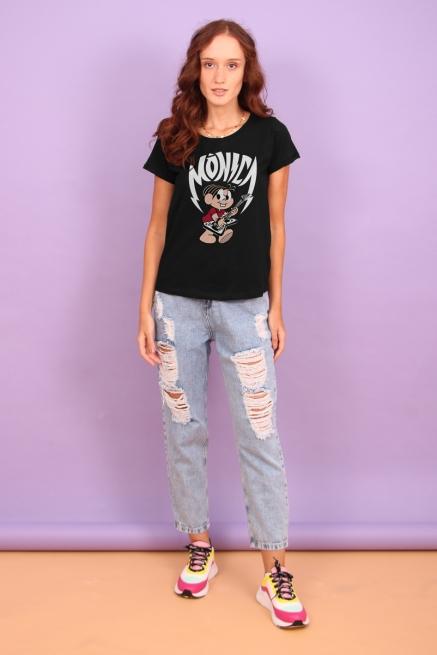 Camiseta Feminina Turma da Mônica - Mônica Rockstar