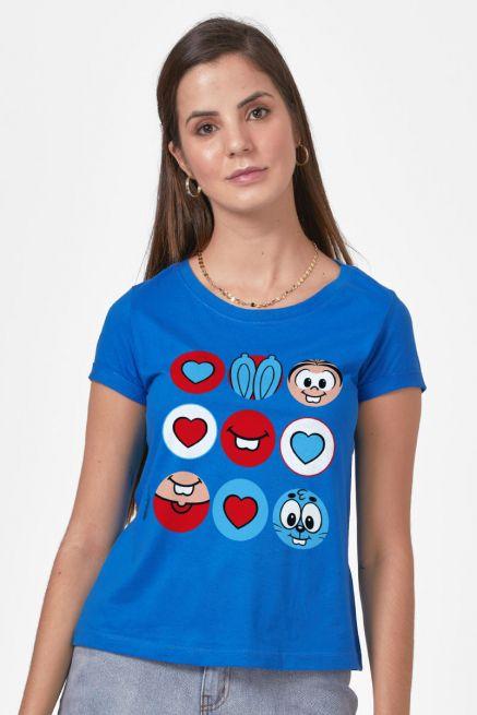 Camiseta Feminina Turma da Mônica Sansão e Mônica Ícones