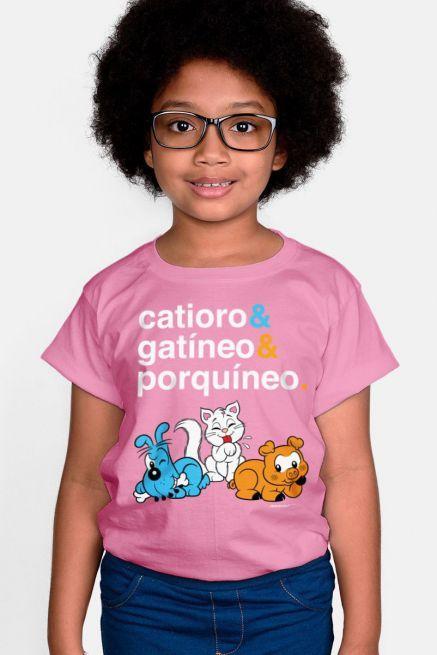 Camiseta Infantil Turma da Mônica Catíoro & Gatíneo & Porquíneo