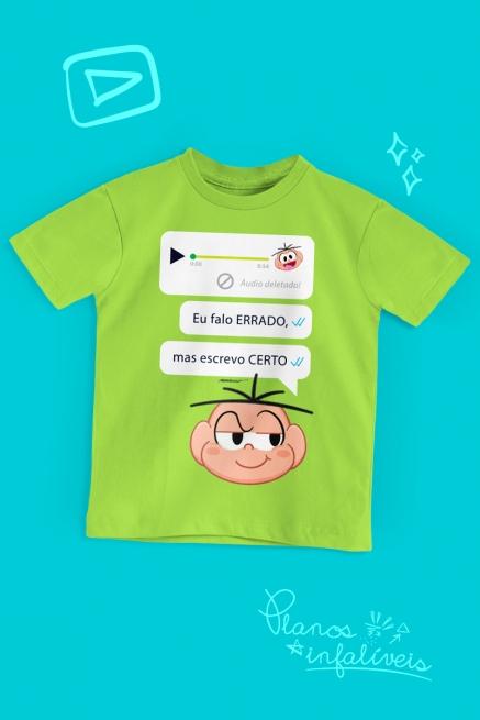 Camiseta Infantil Turma da Mônica Cebolinha Escreve Certo