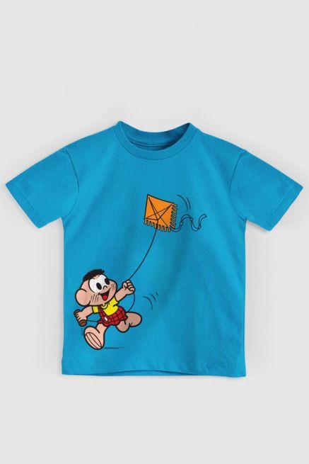 Camiseta Infantil Turma Da Mônica Cascão Soltando Pipa