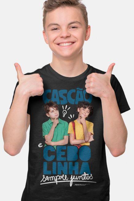 Camiseta Infantil Turma da Mônica Laços Cascão e Cebolinha Sempre Juntos