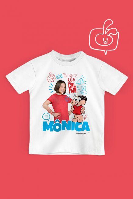 Camiseta Infantil Turma da Mônica Laços Mônica GRL PWR