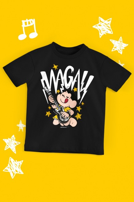 Camiseta Infantil Turma da Mônica Magali Rockstar