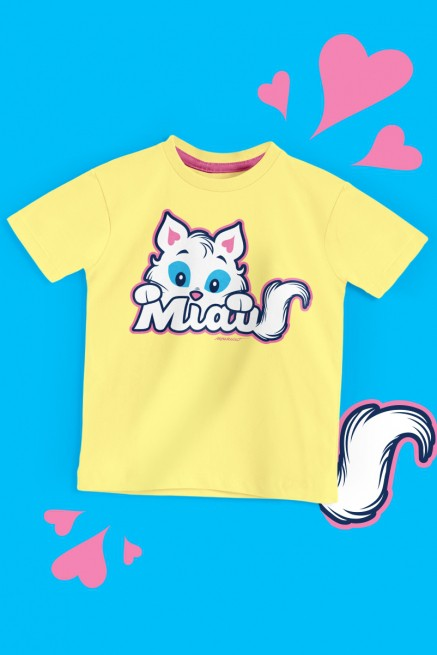 Camiseta Infantil Turma da Mônica Mingau Miau