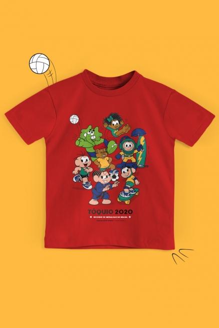 Camiseta Infantil Turma da Mônica Tóquio 2020